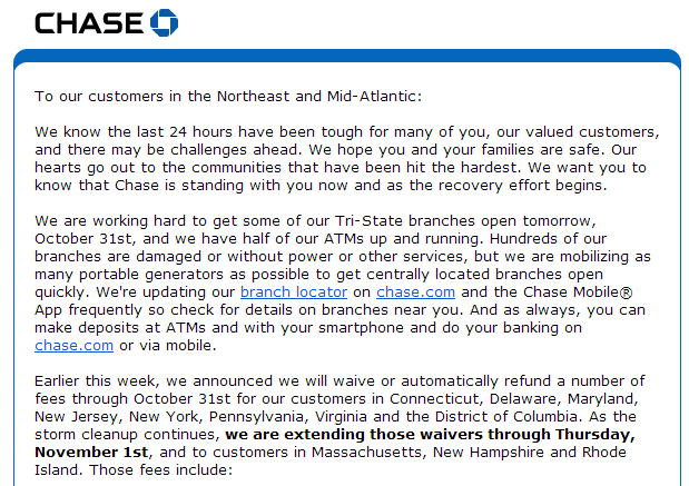 Chase Hurricane Sandy