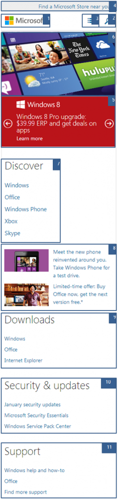 Microsoft site sized for mobile