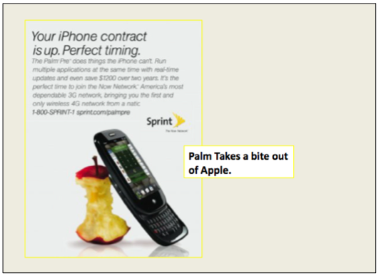 palm pre ad creative attacking the iphone
