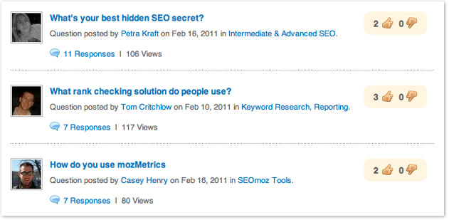 many responses seo questions forum