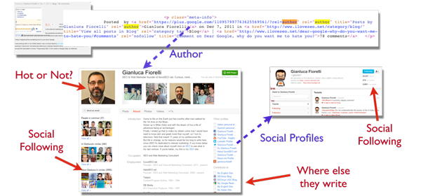 Authorship Markup leads to Google+ profile info