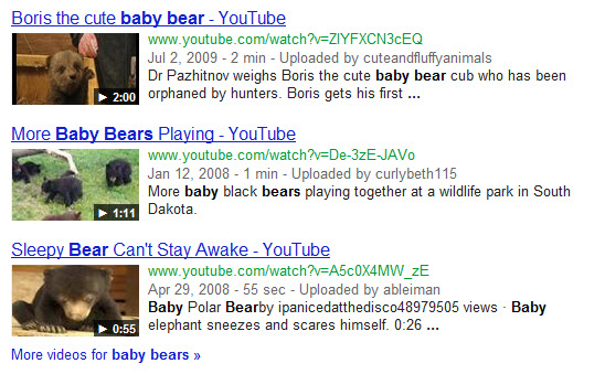 Baby bears universal video block