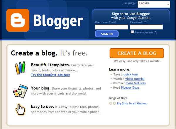 Blogger Home Page Screenshot