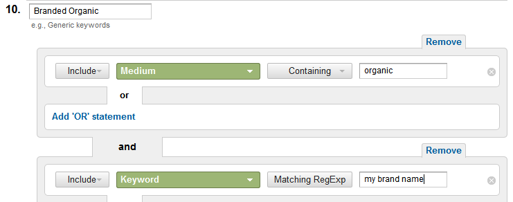 use regex to create your branded channel segment