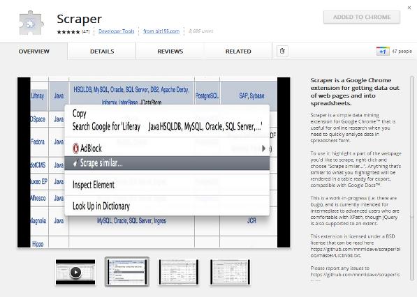 Chrome Web Scraper