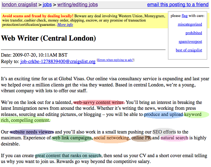 Getting an SEO Copywriting Job Moz – Copywriter Job Description