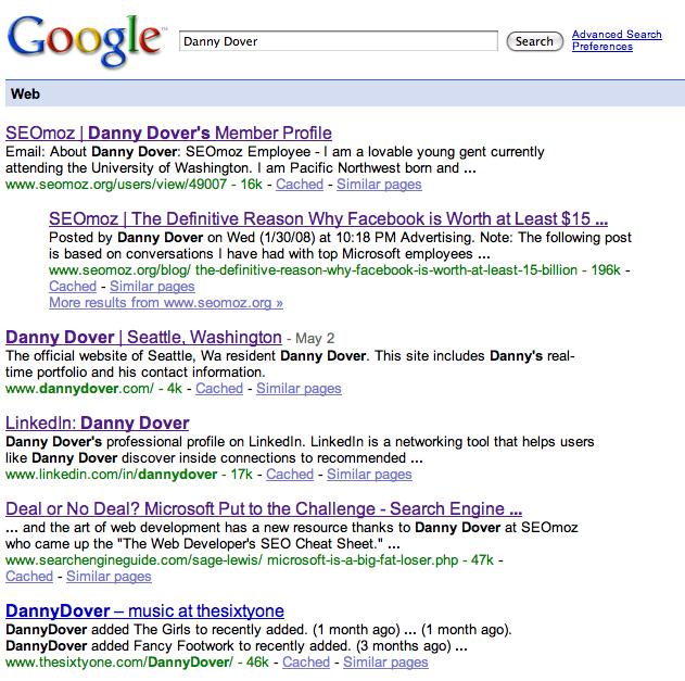 Danny Dover Google SERP