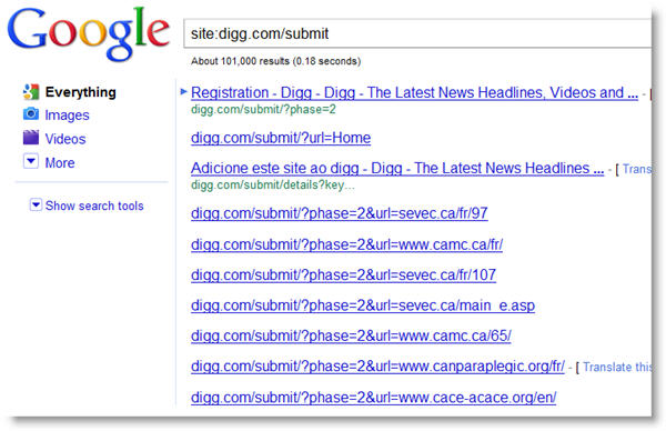 Digg Submit SERP