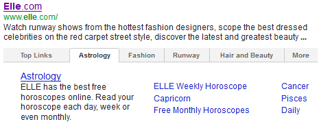 First thoughts on google 39 s new tabbed sitelinks moz for Cancer horoscope elle