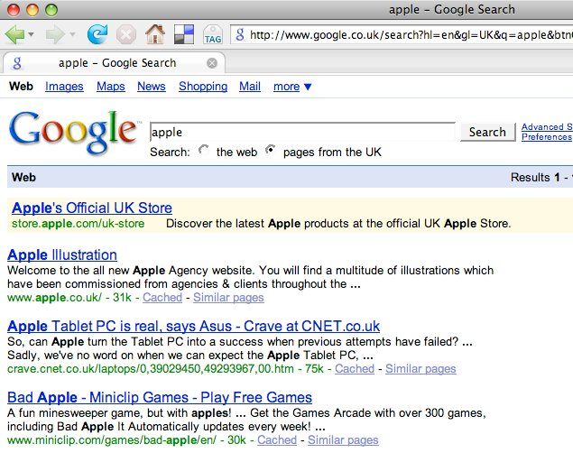 Google search for apple with pages from the uk checked