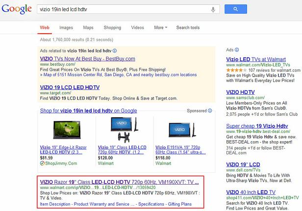 Google Results for Vizio 19in