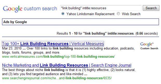 Replace Yahoo Linkdomain With Google Custom Search Engine Moz