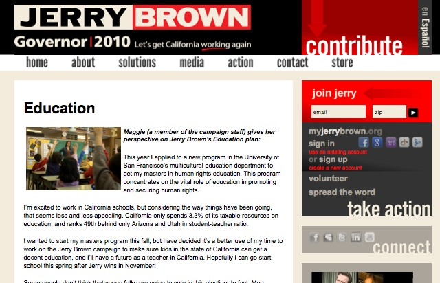jerry brown's landing page for education