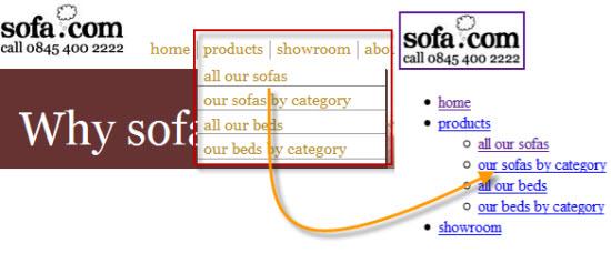 Live nav example on Sofa.com