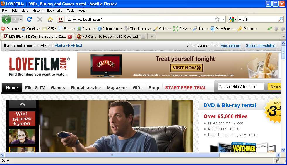 LoveFilm's front page