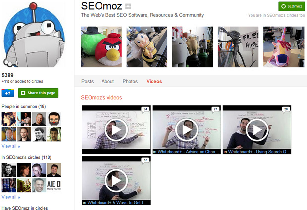 SEOmoz on Google+