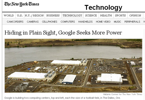 NY Times Piece on Google's Facility in The Dalles, Oregon