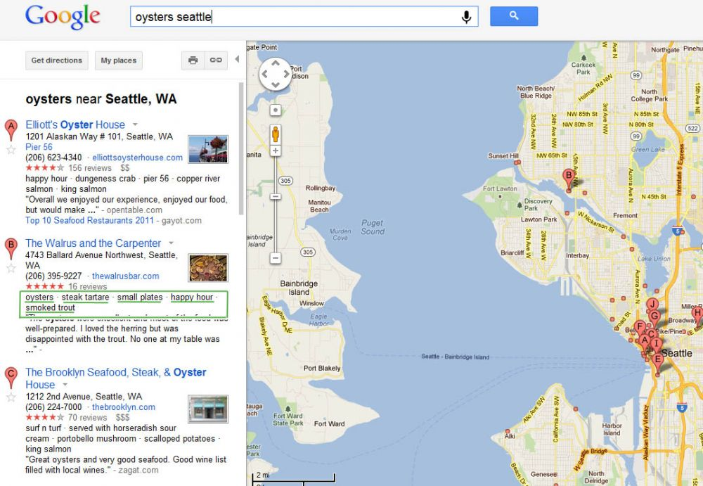 Google Maps Oyster Search
