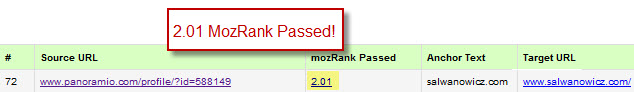 MozRank passed from Panoramio