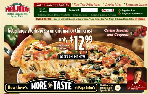 Papa Johns Homepage