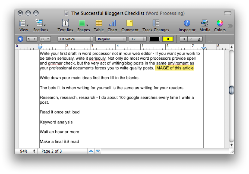 Post In Draft Form In a Word Processor