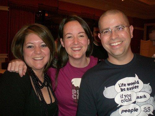 Kristy Bolsinger, Kate Morris, Matt Cutts at SEOmoz PubCon party 2009