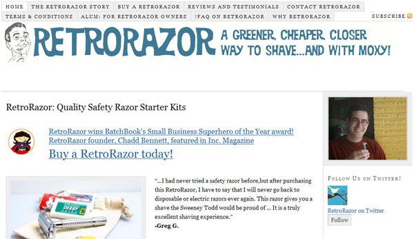 Retrorazor.com Screenshot