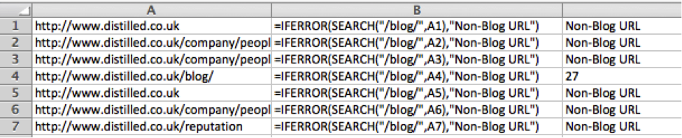 Excel SEARCH and IFERROR functions at work