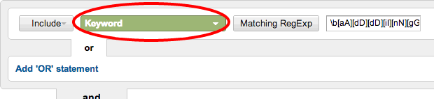 Select Keyword from the list of variables