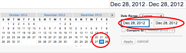 Select Yesterday in the calendar