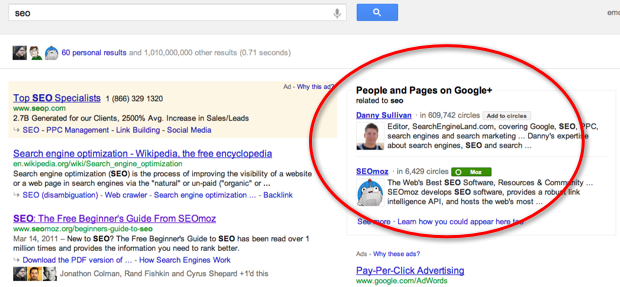 SEO SERP recommending me to follow Danny Sullivan and SEOmoz