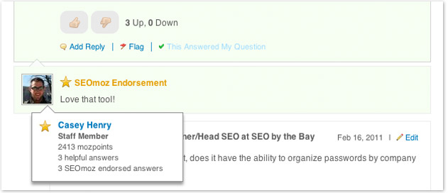 staff endorsed seo question