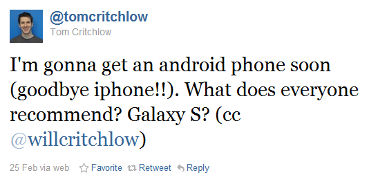 Tom asking about android phones