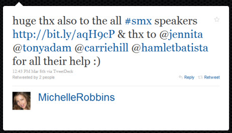 Tweet from Michelle Robbins