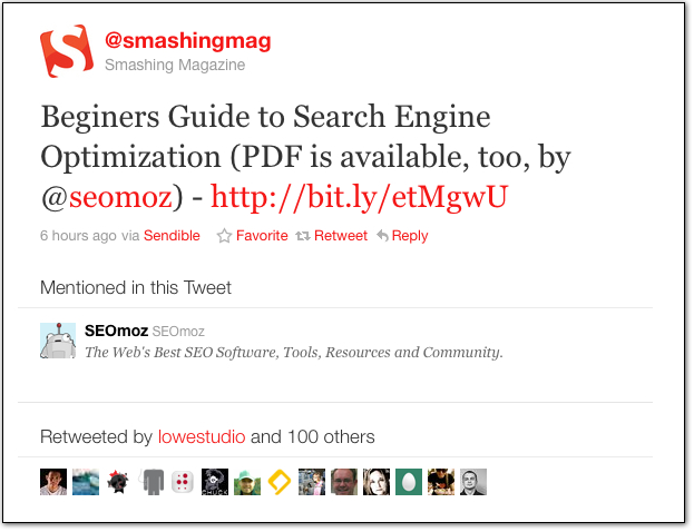 Smashing Magazine's Tweet about the beginner's guide