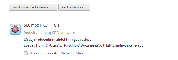 Unpacked extension