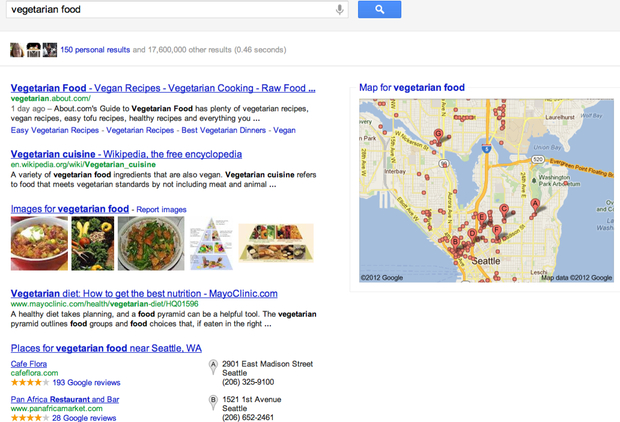 "search for ""vegetarian food"""