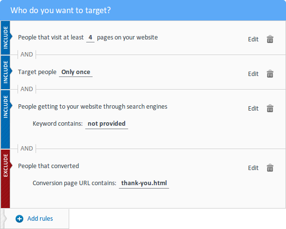 targeting rules for organic traffic