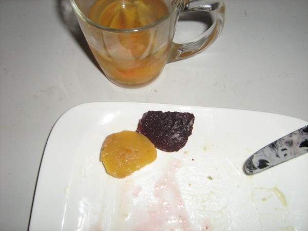 Split-tested Wine peaches on plate