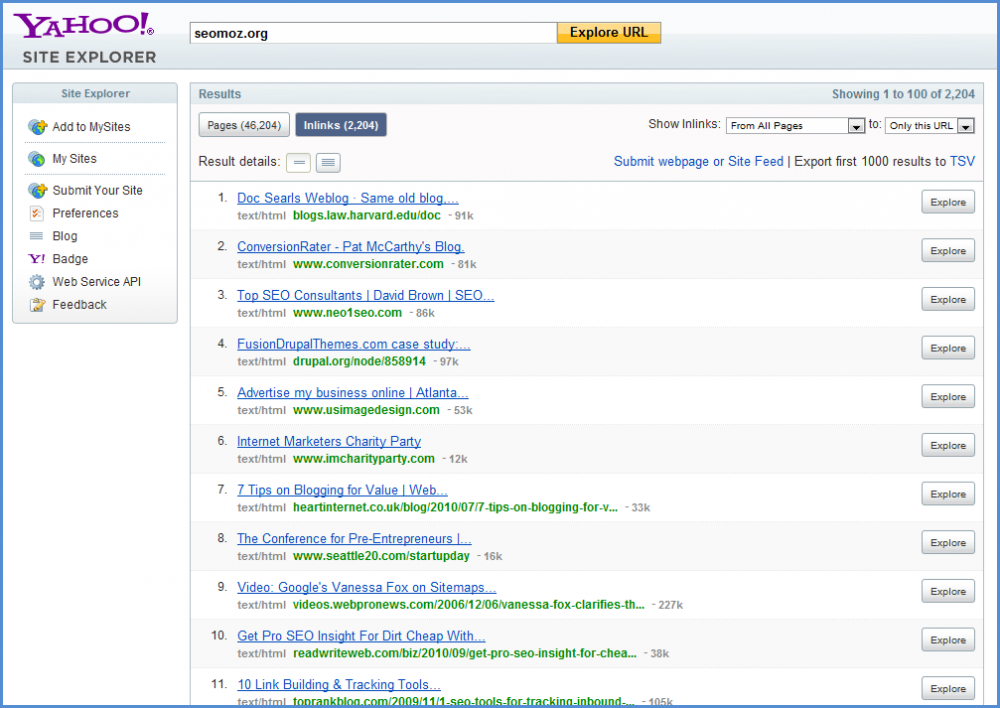 Yahoo Site Explorer Competitor Backlinks Screenshot