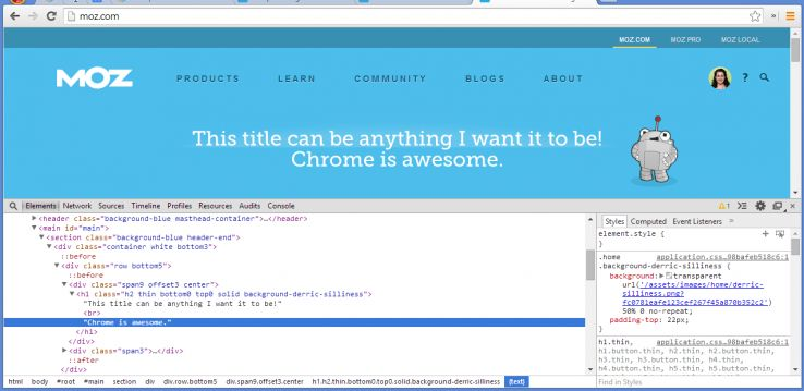 rewriting html in chrome