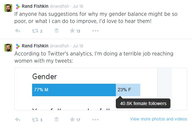 Rand wants to have a more gender balanced Twitter following