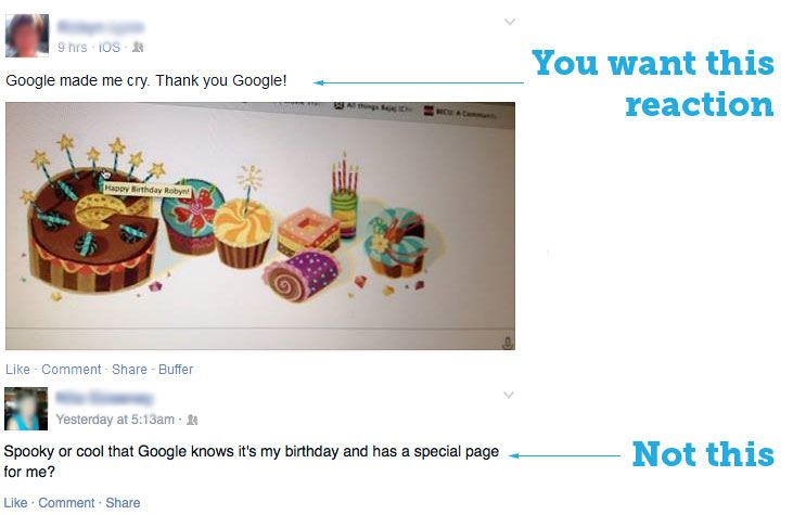 Google birthday reaction