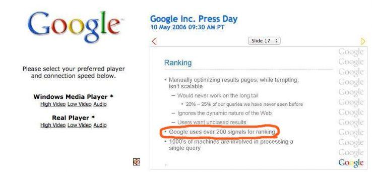 En fait, en 2006, Google a déclaré utiliser plus de 200 facteurs pour classer les pages. Le sujet fait depuis l'objet de débats acharnés.