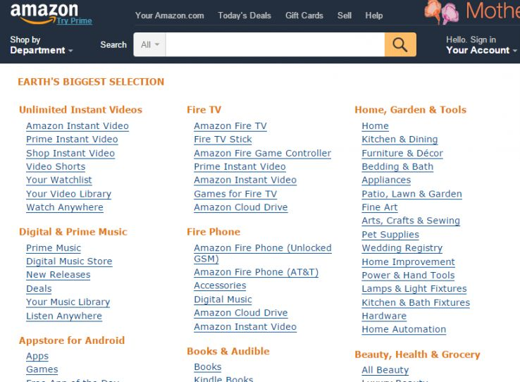 categories and facets on Amazon.com