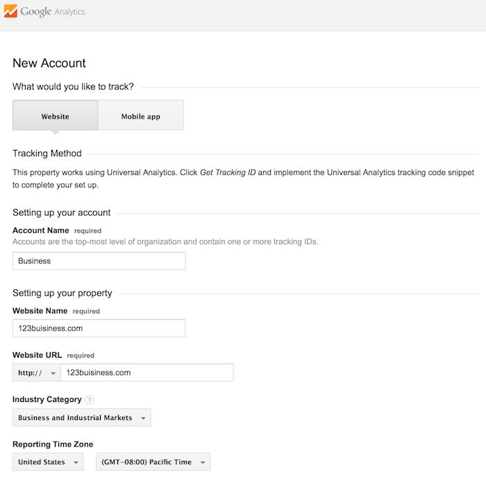 new account information google analytics