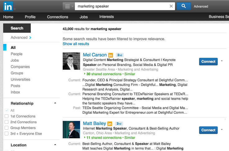 "LinkedIN search for ""marketing speaker"""