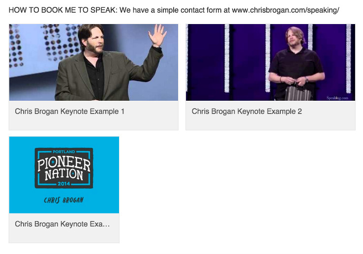 Chris Brogan's LinkedIn speaking section