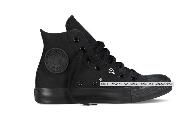 Image of a shoe on the Converse site displaying an alt tag