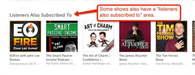 """Listeners also subscribed to"" section in iTunes."